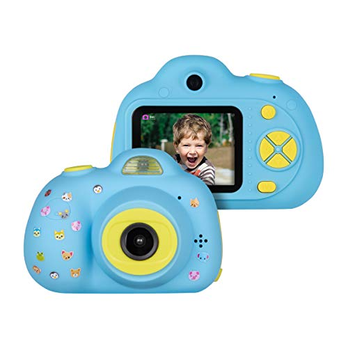 Funkprofi Kids Camera Rechargeable Digital HD Recorder Camcorder with 1.44 Inch LCD Screen, 2 Replaceable Blank Covers & DIY Stickers, Supports Up to 32G TF Card, Ideal Gifts for Teen Boys and Girls