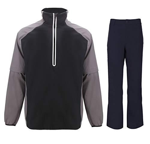 fit space Golf Rain Jacket for Men Waterproof Shell Pants Lightweight Windbreaker Rainwear Suit (2X,Grey-half zip)