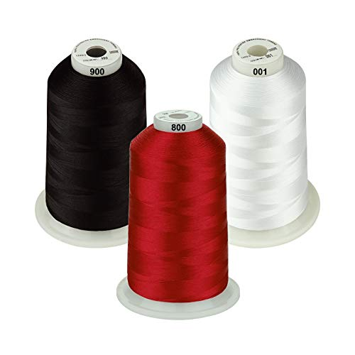 Simthread - 26 Selections - Various Assorted Color Packs of Polyester Embroidery Machine Thread Huge Spool 5500Y for All Purpose Sewing Embroidery Machines - Essential Color 1