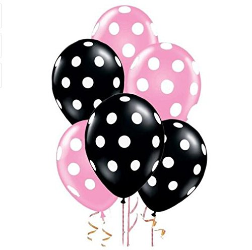 Sopeace 12 Inch Latex Balloons with White Polka Dots,  Pink & Black