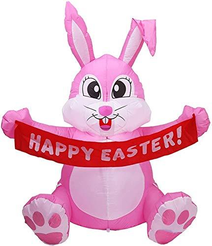 DOY Conejito de Pascua Inflable, de 5 pies de Altura Iluminada Pascua Inflable Conejito Feliz con Banner Felices Pascua Iluminado al Aire Libre Decoraciones de Vacaciones