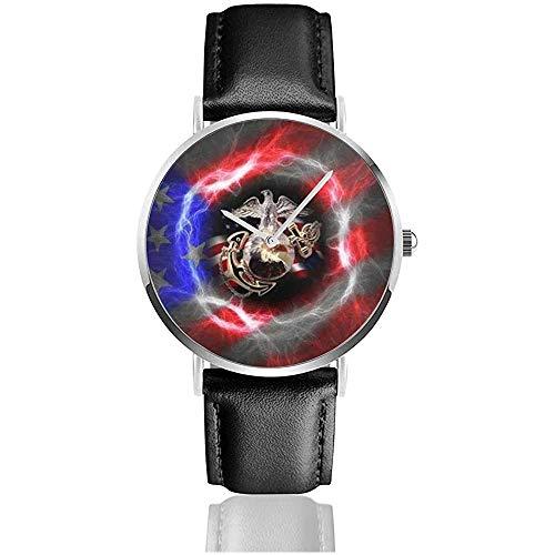 UV-gedruckte Uhren USMC Lederuhr mit PU-Lederarmband