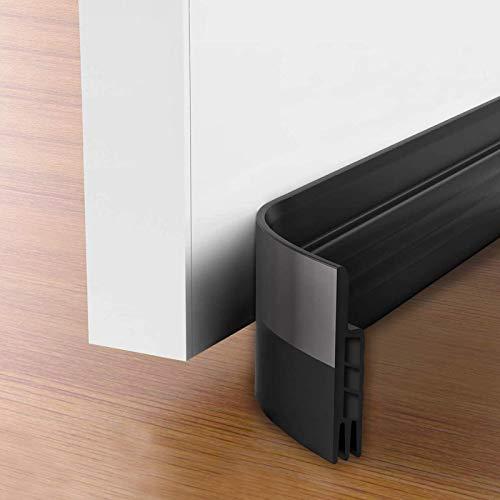 Suptikes 2 Pack Door Draft Stopper,Door Sweep for Exterior & Interior Doors,Door Bottom Seal Dust and Noise Insulation Weather Stripping Draft Guard Insulator, 1-4/5' W x 37' L,Black