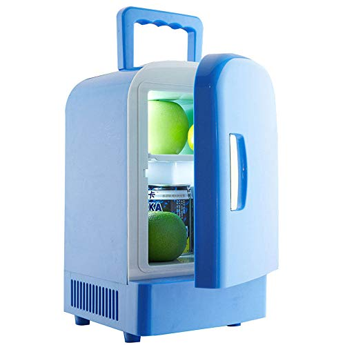Kleine Mini Koelkast Koeler & Warmer | 4 Liter - 6 Blikken | Compact, Draagbaar En Stil | Office Beverage Car Cooler Fridge, 4litres, Portable Electric Cooler Warmer Travel Cool Box,Blue