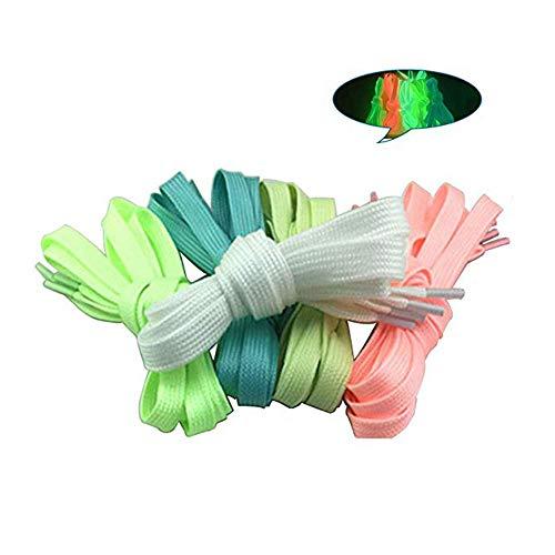LZYMSZ 10pcs 100cm Fluoreszierende Schnürsenkel für Party oder Tanzen Leuchtende flache Schnürsenkel Glühende Athletische Schuhspitze (5-color)