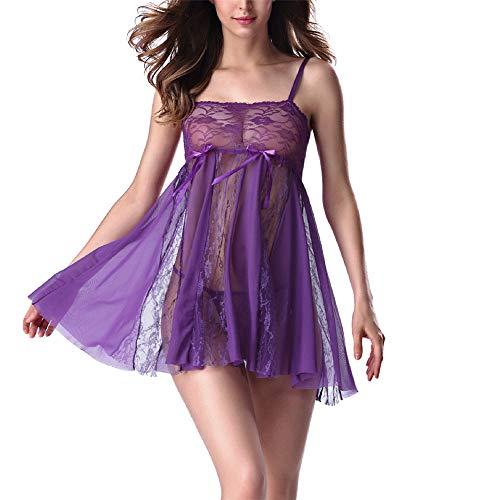 Damen Schlinge Sexy Dessous Und Tanga Spitze Chemise Hakenblume Perspektive Sexy Sheer Babydoll Nachthemd Nachtwäsche Erotisches Nachthemd S