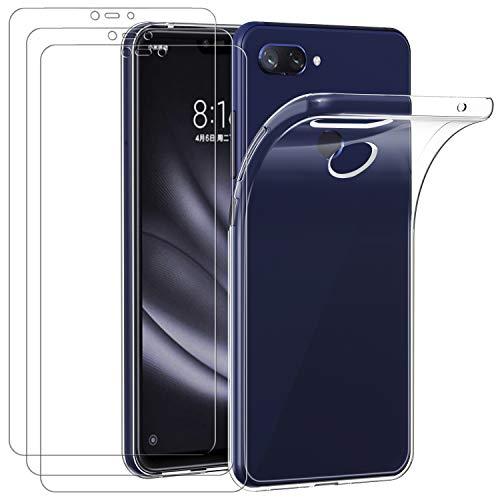 ivoler Funda para Xiaomi Mi 8 Lite + 3 Unidades Cristal Templado, Transparente TPU Silicona Anti-Choque Anti-arañazos [Carcasa + Vidrio Templado] Protector de Pantalla y Caso
