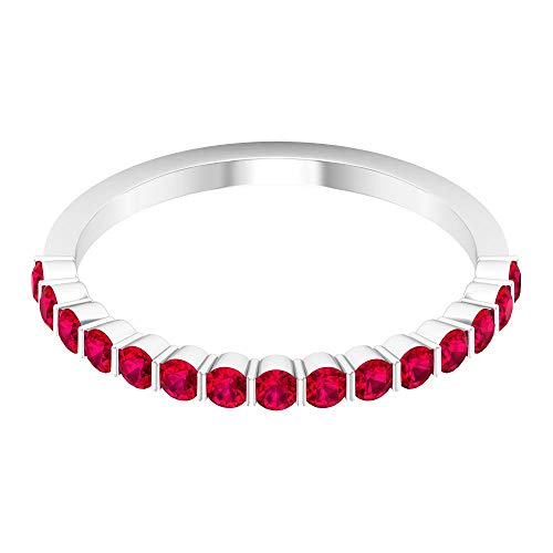 Anillo de media eternidad con certificado de 3/4 ct, con relleno de cristal rubí, anillo de compromiso único para mujeres, anillo de boda con piedras preciosas, 14K Oro blanco, Size:EU 70