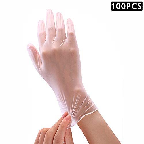 100 Stück Einweghandschuhe, Einweg-PVC-Handschuhe, Transparente, Latexfreie, Puderfreie PVC-Handschuhe für die Haushalts- und Küchenreinigung (L)