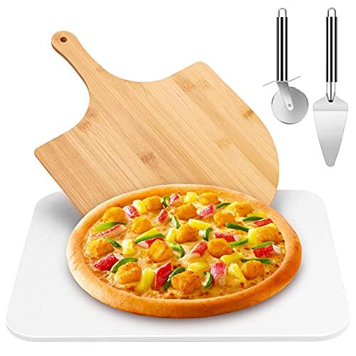 Joyhoop Non-Slip Piedra Pizza(38 cm x 30 cm), Piedra para Pizza + Pala de Bambú + Cortador de Pizza + Pala para pizza, Máxima de calentamiento 900℃ - Degustación de Sabor Italiano Original.