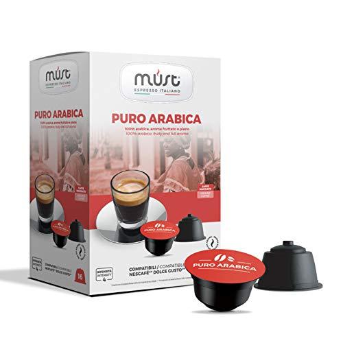MUST 50 Cápsulas de Café Autoprotegidas en Plástico 100% Reciclable Mezcla Arabe INTENSIDAD 6/8 Paquetes de 16 Cápsulas en 6 Paquetes Compatibles con la Máquina Dolce Gusto Made in Italy