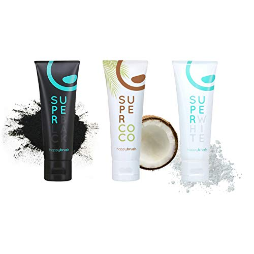 happybrush® Kokosnuss Aktivkohle Zahnpasta für Zahnaufhellung | Zahn Bleaching Set aus Whitening Zahnpasta SuperCoco, SuperWhite, SuperBlack (3 St 75 ml)