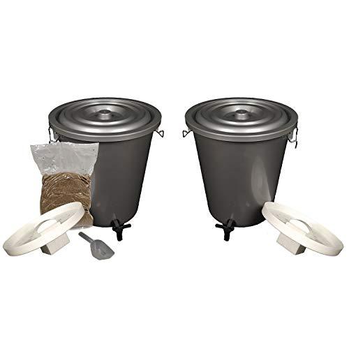 Set Di 2 Bidoni Bokashi Da 23 L, Kit Per Compostaggio Di Rifiuti Organici