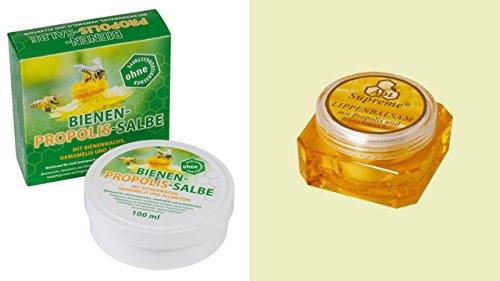 Duft-Cloud Propolis Bestsellerpaket Api Supreme Lippenbalsam mit Propolis und Bienenwachs 10ml und Bienen Propolis Salbe mit Bienenwachs, Hamamelis und Allantoin 100ml