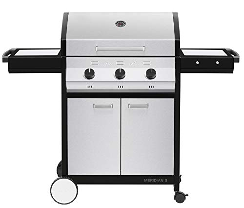 Cadac, 2-Door Cart, and Side Tables, Stainless Steel, 98510-31-01-US Meridian 3 Propane Gas BBQ Grill with 3 Burners Grills Propane