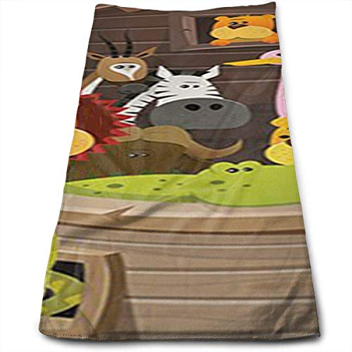 WERERT Eco-Friendly Animals Inside Noah's Ark with Lion Elephant Giraffe Soft Cotton Large Hand Towel Bathroom Towels Super Absorbency,Multipurpose,Quick Drying,Maimum Softness,Machine
