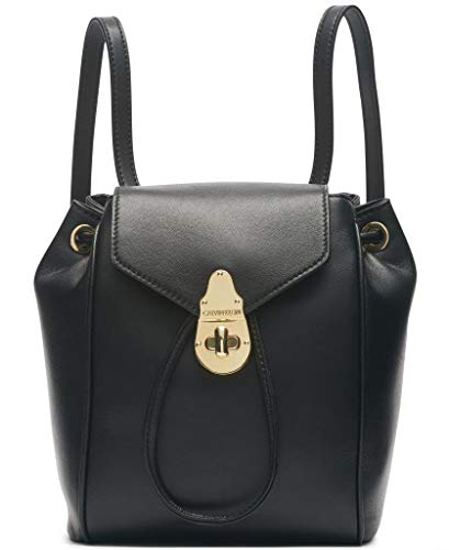 Calvin Klein Soft Lock Lamb Leather Small Convertible Backpack & Crossbody, Black/Gold