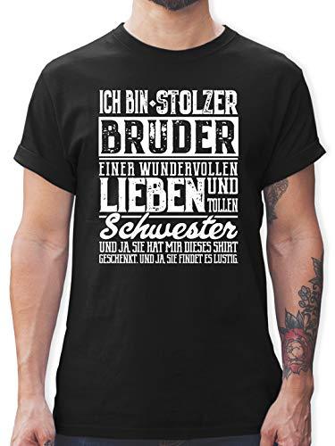 Bruder & Onkel - Ich Bin stolzer Bruder Einer tollen und wundervollen Schwester - XXL - Schwarz - Bruder Schwester Geschenk Tshirt - L190 - Tshirt Herren und Männer T-Shirts