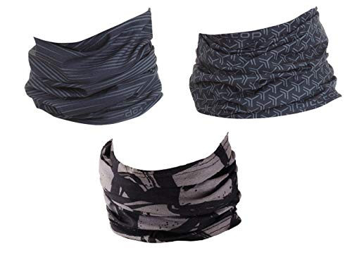 Hilltop 3 x Motorrad Multifunktionstuch, Kopftuch, Halstuch, Bandana 3-er Set in den besten Designs, 3er Set:grey selection