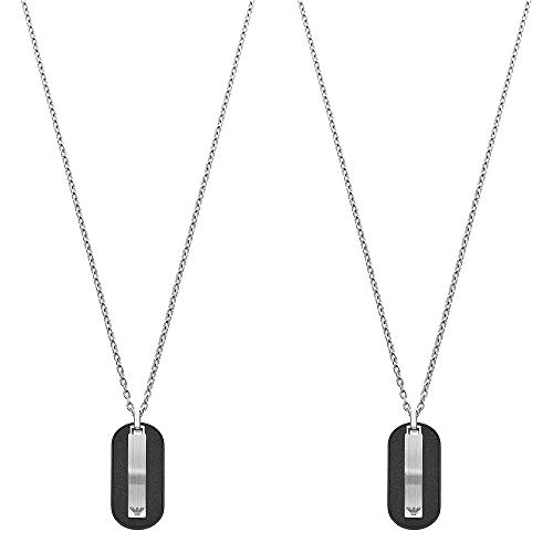 [エンポリオアルマーニ]EMPORIO ARMANI ペアネックレス ペンダント ファッション ジュエリー アクセサリー メンズ レディース ブラック シルバー レザー ステンレス EGS2538040EGS2538040 [並行輸入品]