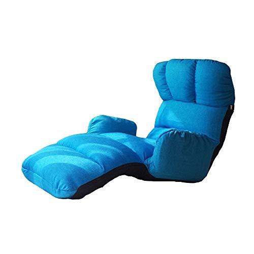Axdwfd Chaise longue Lounge Chair, Lazy Couch Tatami Multi-fonction Accoudoir Chaise Déjeuner Pause Chaise Pliant Plancher Canapé-Lit Balcon Chaise de Loisirs 102 * 58 * 81cm (Couleur : Bleu)