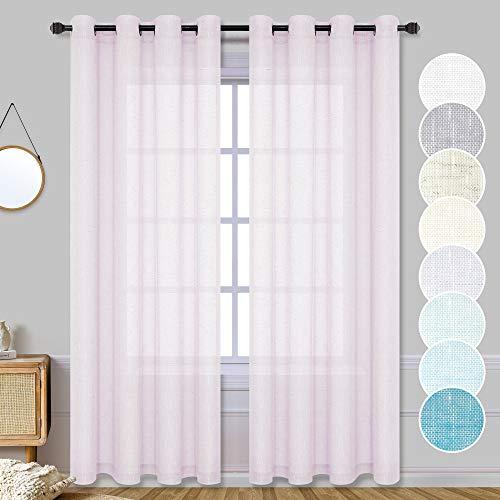 Lavender Pink Curtains for Girls Room 2 Panel Sets Grommet Elegant Linen Textured Light Lilac Purple Semi Sheer Closet Curtains for Bedroom Closet Door 52 x 84 Inch Length