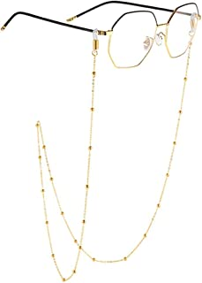 18K Gold Plated Eyeglass Chains Sunglass Retainer Strap Eyewear Retainer Eyeglass Strap Holder for Women and Girls