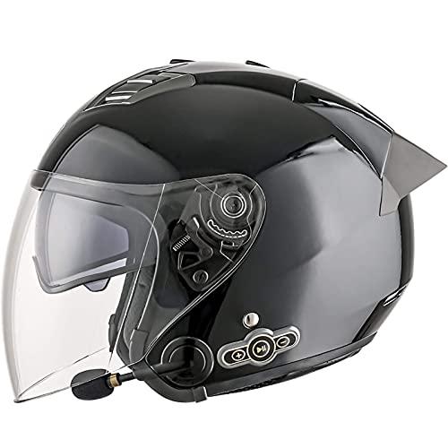 Casco de Motocicleta Bluetooth Cascos Jet 3/4 Casco de Locomotora de Motocicleta con aprobación ECE Moped Crash Moped Bobber Chopper Cruiser Gorra de Carreras con Doble Visera antivaho