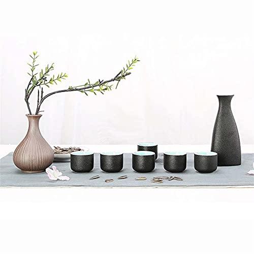 HQQ Conjunto de vinos, Botella de cerámica de Vino Blanco, Conjunto de Regalo de Fiesta de Dos Piezas, Botella de Vino 1x, 6X Taza