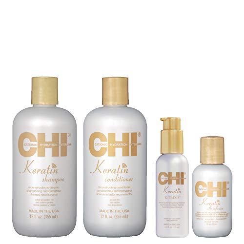 CHI Keratin - Kit Shampoing + Après-Shampoing + Soin lissant + Silk Infusion - Soins reconstructeur et lissants à la Kératine - Kit Entretien Lissage/Protection