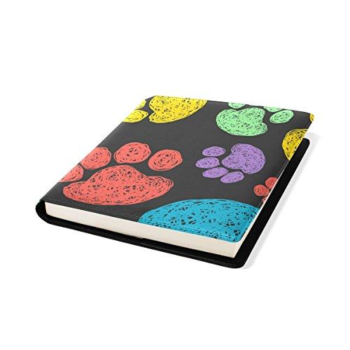 COOSUN Coloré Empreintes de Pattes Pattern Book Cover Sox Stretchable Livre, La Plupart des Fits Relié jusqu'à 9 manuels x 11. adhésif Libre, école Cuir PU Livre Protector 9 x 11 Pouces Multicolore