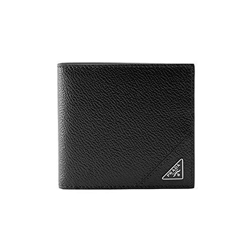 Prada Vitello 2MO513 Geldbörse aus genarbtem Leder, Schwarz