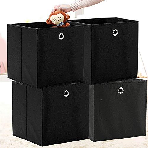 BALLSHOP 4 STK Faltbox Faltbare Aufbewahrungsbox Stoff Faltkiste mit Fingerloch 32 x 32 x 32 cm für Regale oder Raumteiler Schwarz