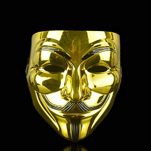 SHOUSBOXHI Halloween Horror Maskers Maskerade Party Mask V voor Vendetta gemaskerde bal Cosplay masque Volwassen Kostuum Accessoire Zuivering eng Masker, goud
