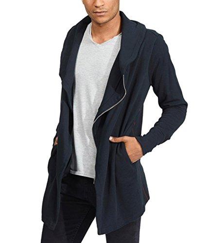 trueprodigy Casual Hombre Marca Sudadera Zip Basico Ropa Retro Vintage Rock Vestir Moda Deportivo Manga Larga Slim fit Designer Fashion Jacket Chaqueta Sudadera, Colores:Black, Tamaño:L
