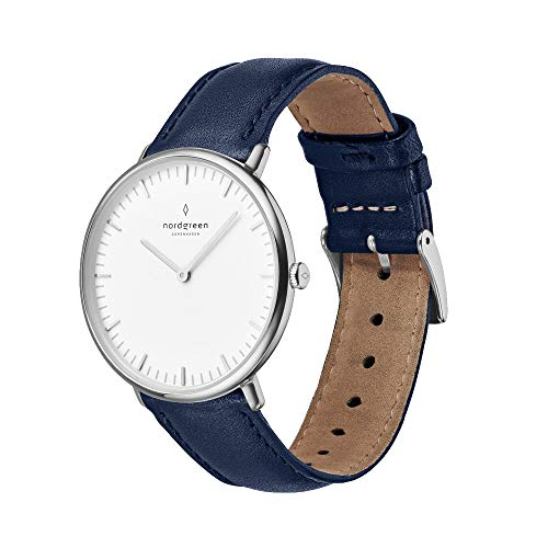 Nordgreen Native Scandinavian Silver Unisex Analog 36mm Watch with Navy Leather Strap 10078