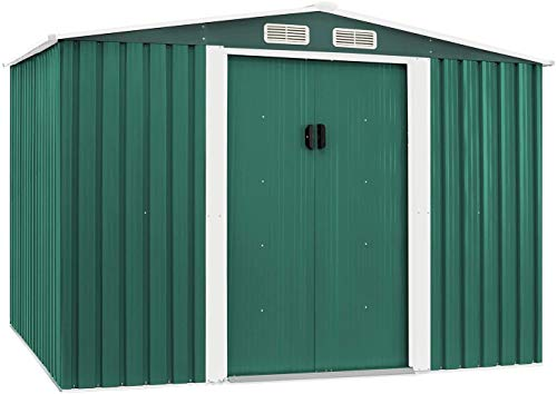 Skiway Outdoor Garden Storage Shed Green 6X8 FT Yard Storage Tool with Sliding Door for Patio Furniture, Lawn Mower, and Bike Storage(Green)