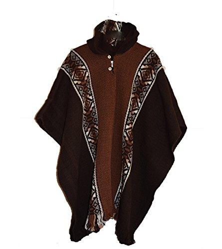 Wigwam Poncho aus 100 % Wolle, in Südamerika, handgefertigt braun braun Einheitsgröße