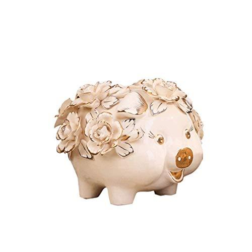 XHAEJ Hucha de cerámica con hucha de flores con hucha de flores (tamaño: L)