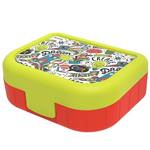 Rotho Memory Kids Vesperdose 1l mit Deckel und Klickverschluss, Kunststoff (PP) BPA-frei, iml inspire, 1l (16,6 x 13,3 x 6,1 cm)