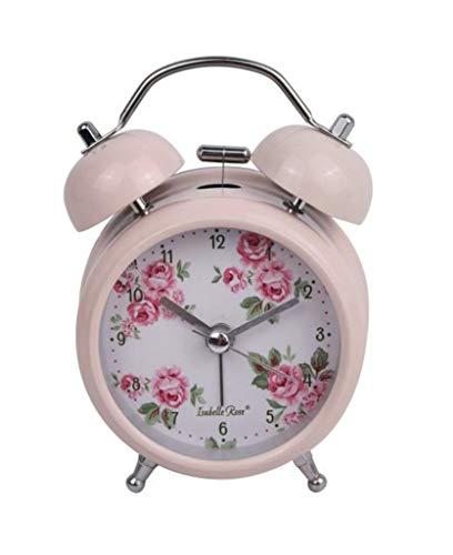 Isabelle Rose Reloj Despertador Retro Lucy Metal Rosa con Flores Ø9 H13 cm IRCL9