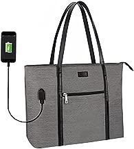 Laptop Tote Bag, Large Women Work Bag Purse USB Teacher Bag Fits 15.6 Inch Laptop (15.6 Inch, A Gray)