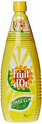Lesieur Huile Fruit d'Or, issue de graines de tournesol & colza, pour friture, cuisson & assaisonnement - La bouteille de 1L