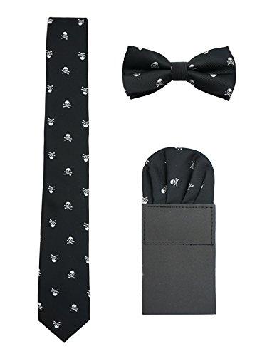 Hombre 6cm Corbata & Pajaritas & Pañuelo de Bolsillo 3 en 1 Set Moda Casual Cool - Calavera Patrón Negro & Plateado
