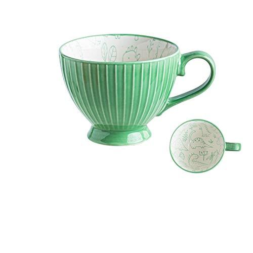 Taza De Café Tazas de cerámica Taza de café Desayuno Cereal Linda Copa de Cerámica Leche Capacidad grande Capacidad Taza de harina de avena Regalos (Color : H)