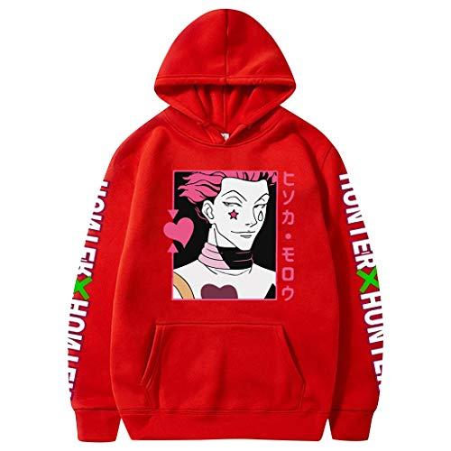 Moletom com capuz Hunter X Hunter para homens e mulheres Anime com capuz Killua Hisoka pulôver unissex estampado suéter jaqueta, Vermelho, 4XL