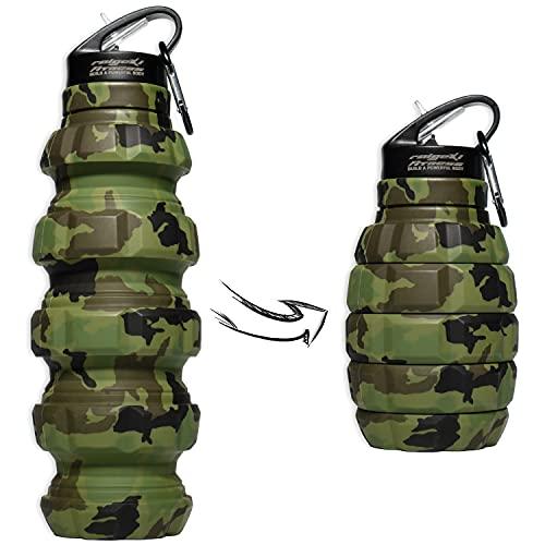 Raigeki - Botella plegable para fitness (580 ml, sin BPA, antigoteo, de silicona, apta para alimentos, para bicicleta, deporte, festival, con mosquetón, planes de entrenamiento