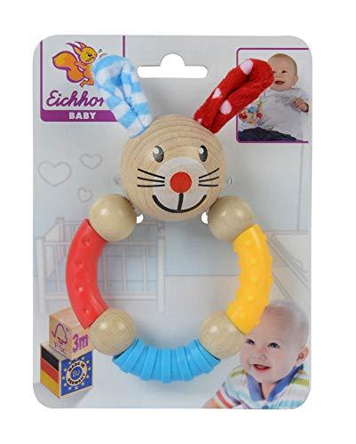 Eichhorn - Baby Greifring mit Hasenmotiv - aus FSC 100 Prozent zertifiziertem Buchenholz, farbiger Silikonring und Holzkugeln, 9x13,5cm, ab 3 Monaten