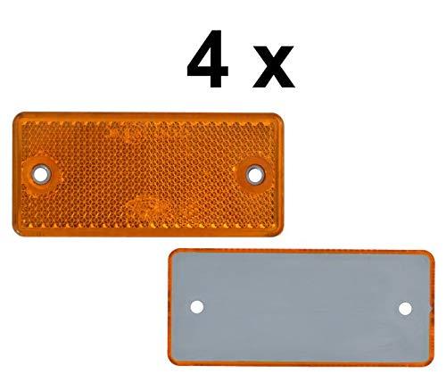 FKAnhängerteile 4 x Rückstrahler - Reflektor - Schrauben - 90 x 40 mm - Gelb - Prüfzeichen