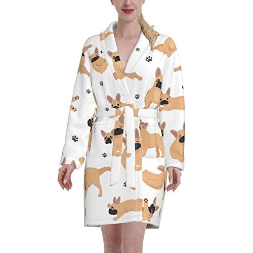 French Bulldog Yoga Flannel Bathrobe for Women & Men,Soft Spa Mid Length Robe,Comfy Warm Nightdress